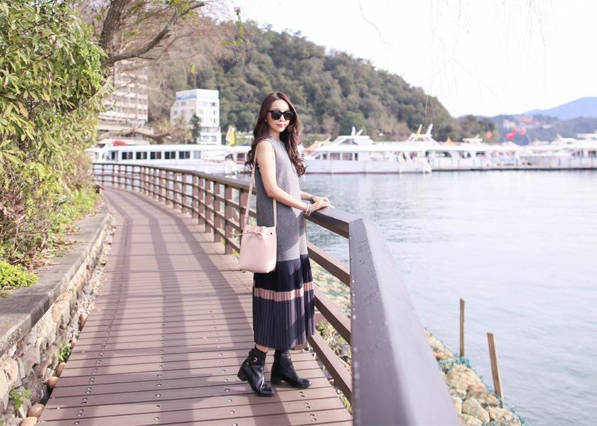 【一日穿搭】高雅氣質感毛呢拼接百折長洋裝~日月潭湖畔散步❤