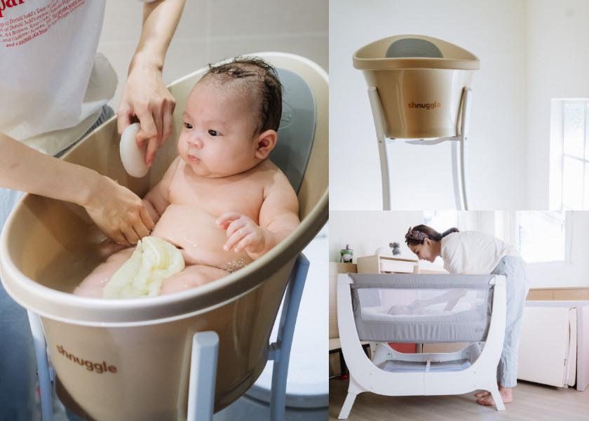 【育兒】輕鬆優雅不費力幫寶貝洗澡的英國Shnuggle月亮澡盆X超美又輕巧的Air成長型床邊嬰兒床 (新品首團)